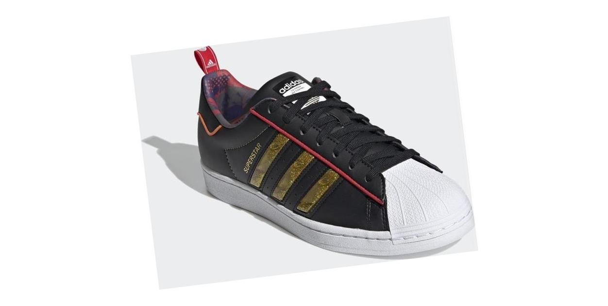 adidas Superstar Core Black / Gold Metallic / Scarlet