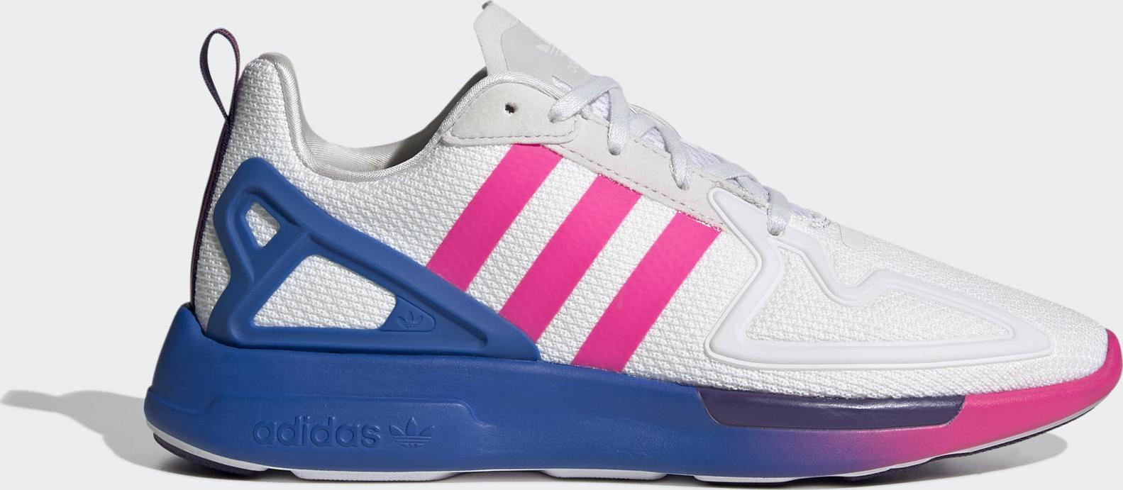 adidas ZX 2K Flux Crystal White / Shock Pink / Blue