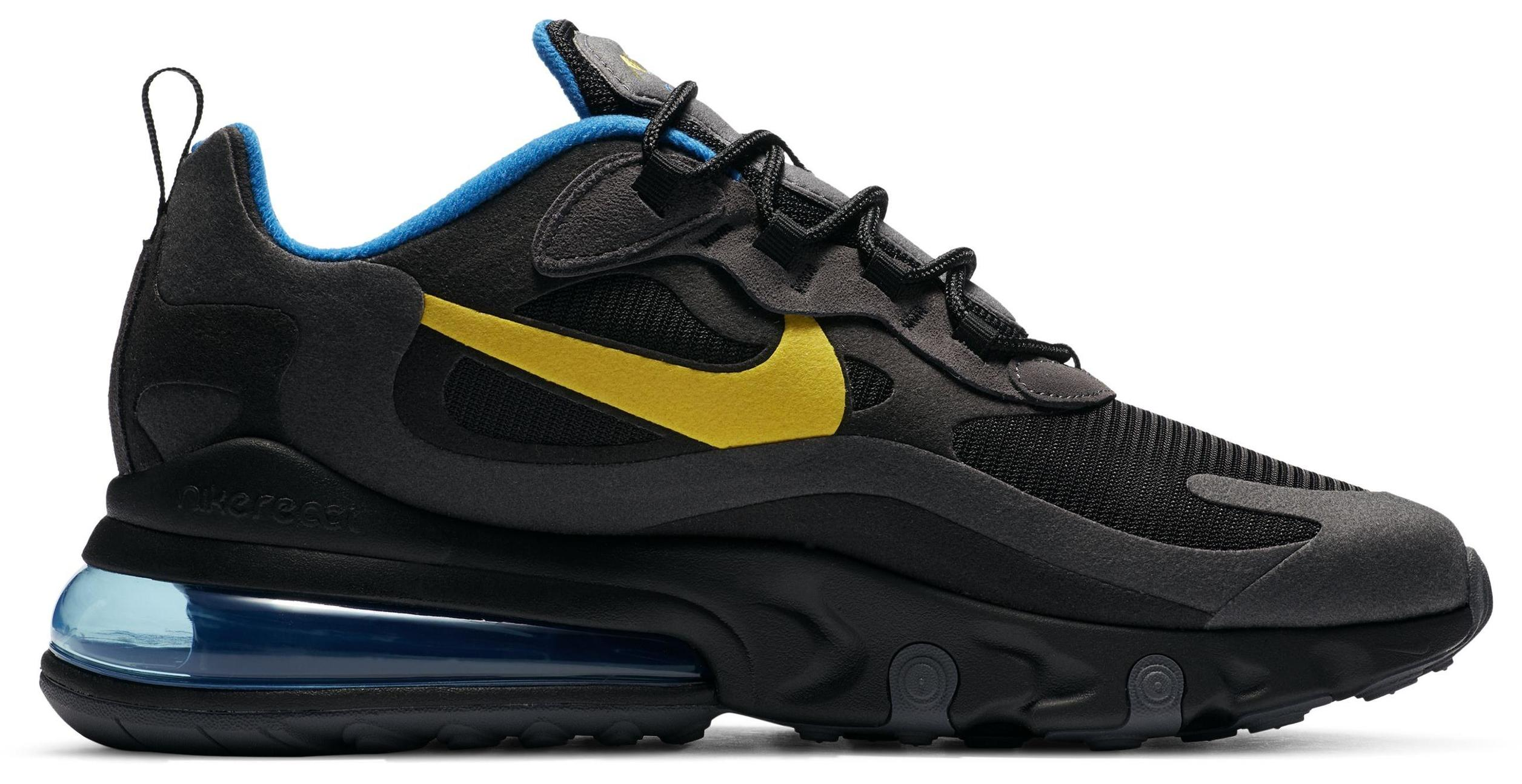 Nike Air Max 270 React Black/Dark Grey/Blue Spark/Tour Yellow